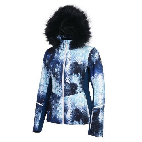 Women's Iceglaze Faux Fur Trim Luxe Ski Jacket Blue Wing Cosmic